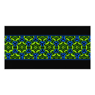 Floral Pattern in Bold Green and Blue Card