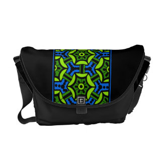 Floral Pattern in Bold Green and Blue Messenger Bag