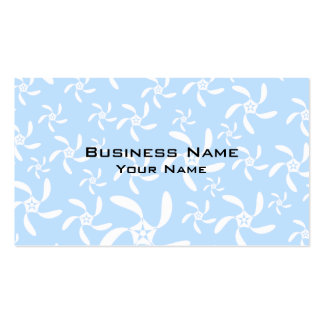 Floral Pattern in Light Blue and White. Business Card