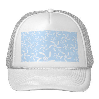 Floral Pattern in Light Blue and White. Trucker Hats