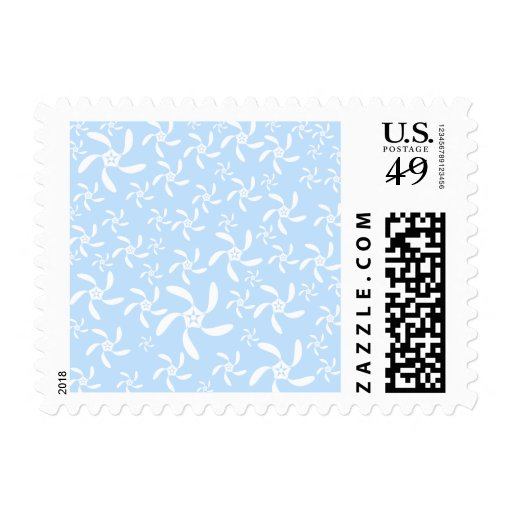 Floral Pattern in Light Blue and White. Postage