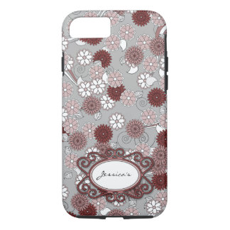 Floral Pattern in Muted Pink, Maroon and Grey iPhone 7 Case