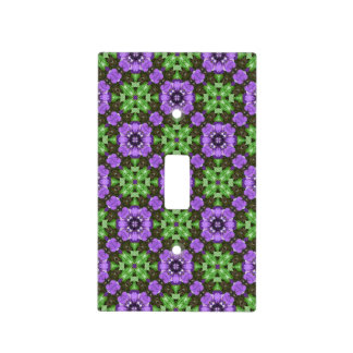 Floral Pattern in Purple and Green Light Switch Cover