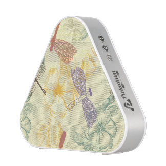 Floral pattern in vintage style dragonfly foliage bluetooth speaker
