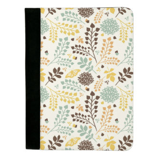 Floral pattern: leaves, flowers and butterfly padfolio