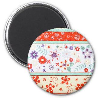 Floral Pattern 2 Inch Round Magnet