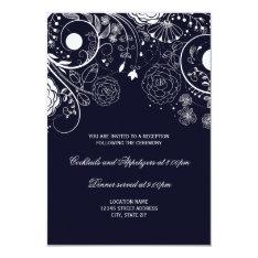 Floral Pattern Navy - Reception Invitation at Zazzle
