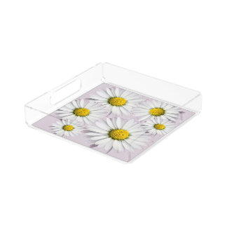 Floral pattern of white and yellow daisies acrylic tray