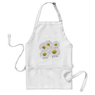 Floral pattern of white and yellow daisies adult apron