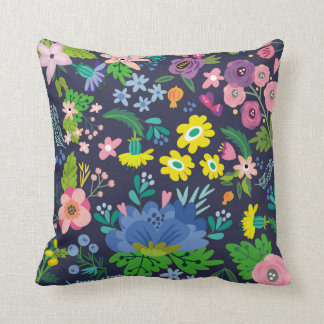Floral Pattern on Navy Blue Throw Pillow
