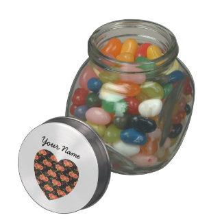 Floral Pattern Personalized Name Jelly Belly Candy Jar