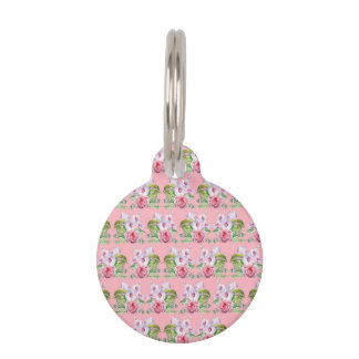 Floral pattern pet name tag