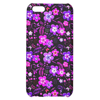 Floral pattern pink and purple cover for iPhone 5C