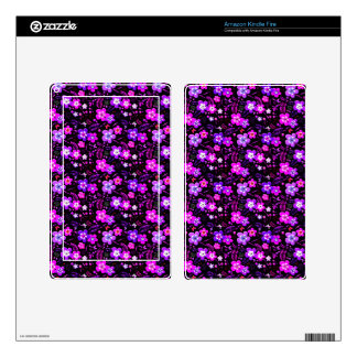 Floral pattern pink and purple kindle fire skin