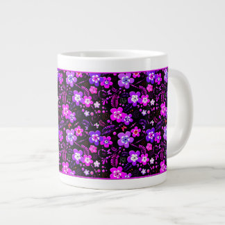 Floral pattern pink and purple large coffee mug