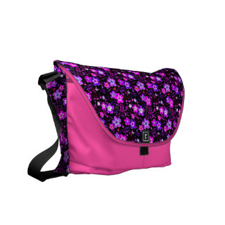 Floral pattern pink and purple messenger bag