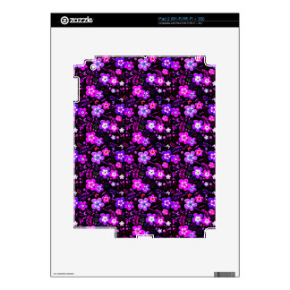 Floral pattern pink and purple skin for iPad 2