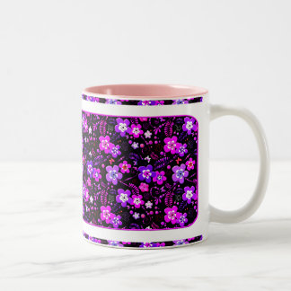 Floral pattern pink and purple Two-Tone coffee mug
