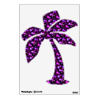 Floral pattern pink and purple wall decal