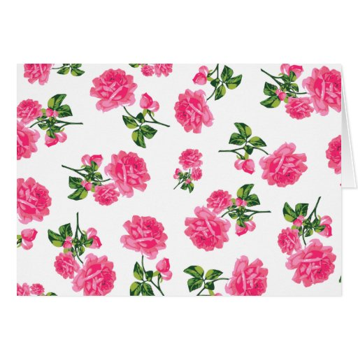 Floral pattern: Pink roses Card