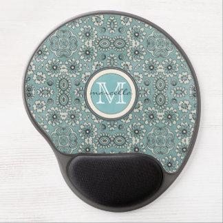 Floral Pattern Print Monogram Gel Mouse Pad