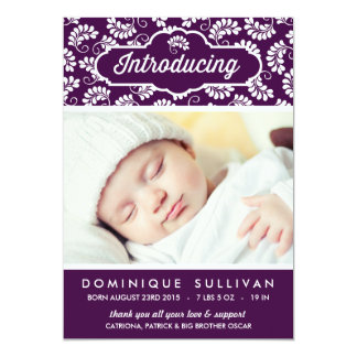 Floral Pattern | Purple Photo Birth Announcement