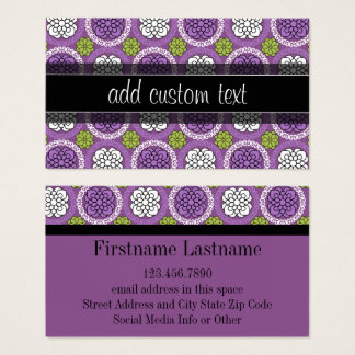 Floral Pattern - Radiant Orchid and Black Business Card