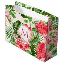 Floral Pattern Red Hibiscus Monogram L Gift Bag