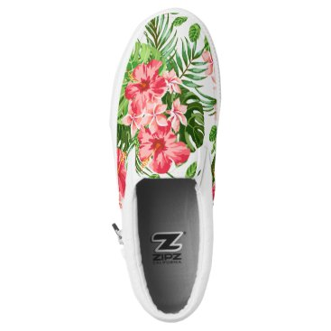 Beach Themed Floral Pattern Red Hibiscus Monogram Slip On Shoes