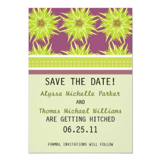 Floral Pattern Save The Date (Green/Plum) Card