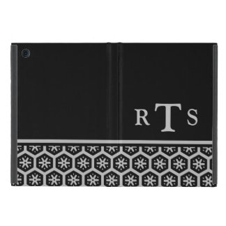 Floral Pattern Silver Initials Monogram Case For iPad Mini