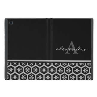Floral Pattern Silver Name - Monogram iPad Mini Cover