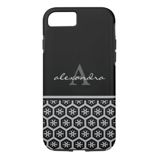 Floral Pattern Silver Name - Monogram iPhone 7 Case