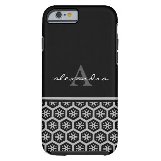 Floral Pattern Silver Name - Monogram Tough iPhone 6 Case