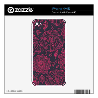 Floral Pattern Skins For iPhone 4S
