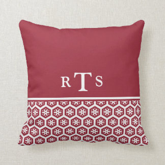 Floral Pattern Soft Red Initials Monogram Pillows