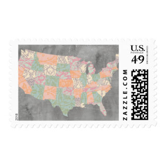 Floral Pattern States Map Postage