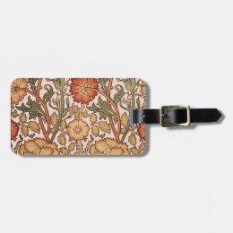 Floral Pattern Vintage Pink Designer Fabric Luggage Tag