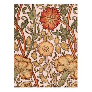 Floral Pattern Vintage Pink Designer Fabric Postcard