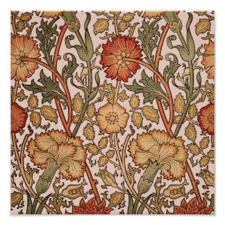 Floral Pattern Vintage Pink Designer Fabric Poster