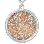 Floral Pattern Vintage Pink Designer Fabric Round Pendant Necklace