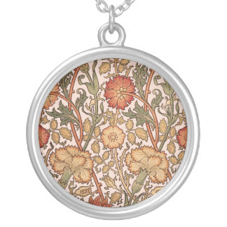 Floral Pattern Vintage Pink Designer Fabric Silver Plated Necklace