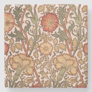 Floral Pattern Vintage Pink Designer Fabric Stone Coaster