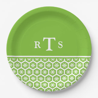 Floral Pattern White Lime Green Monogram Paper Plate