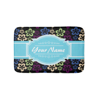 Floral Pattern with Aqua Custom Name Bathroom Mat