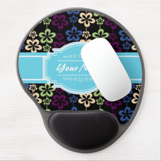 Floral Pattern with Aqua Custom Name Gel Mouse Pad