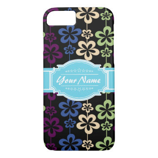 Floral Pattern with Aqua Custom Name iPhone 7 Case