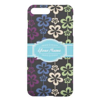 Floral Pattern with Aqua Custom Name iPhone 7 Plus Case