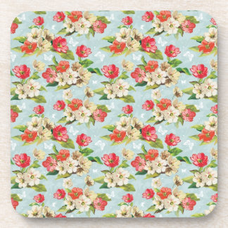Floral pattern with butterflies beverage coaster