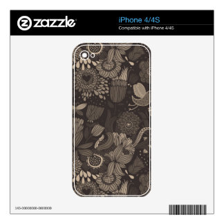 Floral pattern with cartoon birds 2 skins for iPhone 4S